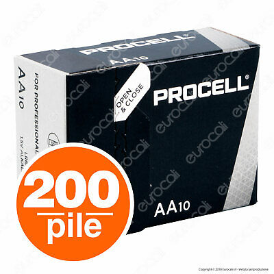 200 Batterie Duracell Industrial Procell Pile Alcaline Stilo AA
