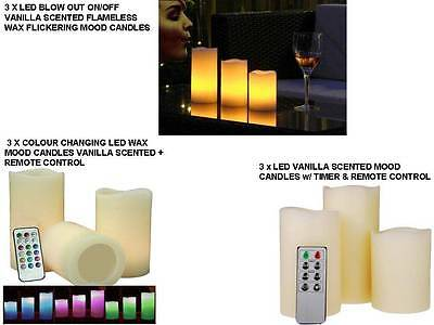 3 X Led Candles Blow Vanilla Scented Colour Changing Candles W/ Remote New