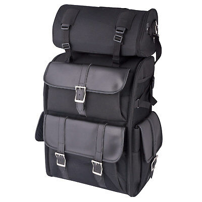 55 Litre Travel Bag T-Roll Cordura Leather Motorcycle Sissy Bar Backpack