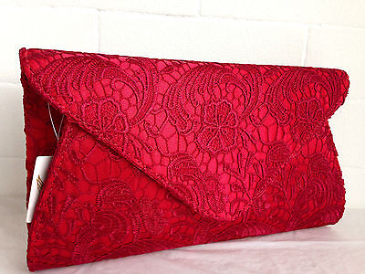 6162b249fbd New Cream Ivory Lace Evening Clutch Bag Nude Navy Blue Black Red Silver  Wedding