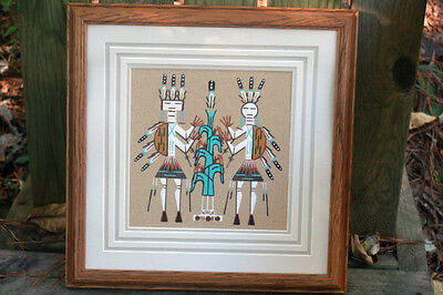 Navajo Sand Painting - Camel God and Corn by McDonald- Matted and Framed