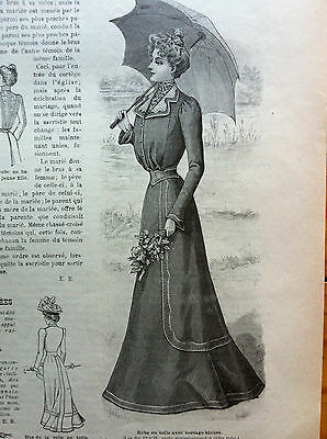 ORIGINAL French MODE ILLUSTREE July 14, 1901 + sewing pattern