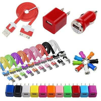USB AC Home Wall + Car Charger + Data Cable for iPhone 4S 4 3GS 3G iPod iTouch