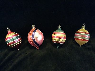 VINTAGE LOT 4 POLAND TEARDROP CHRISTMAS GLASS ORNAMENTS STRIPED