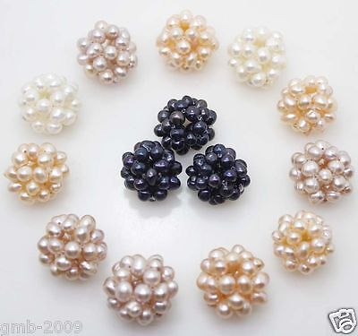 10PCS Mix Colors White Pink Purple Black 18-20mm Natural Freshwater Pearl Ball