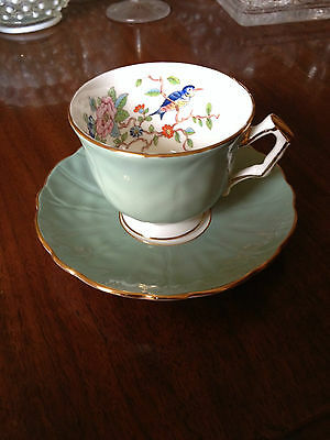 Vintage Aynsley Teal Green Hand Painted Cup and Saucer