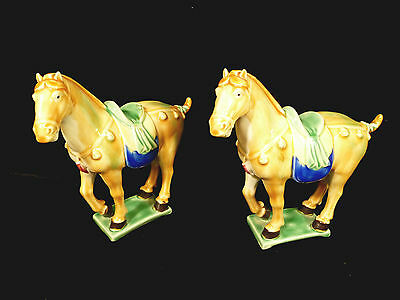 Pair Of Vintage Chinese Porcelain Decorative Horses