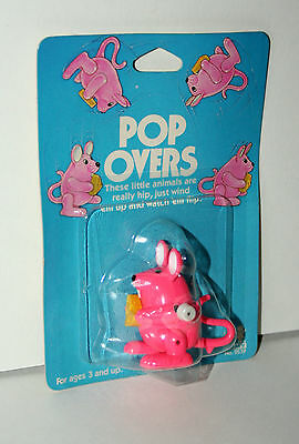 Vintage Tomy Pop Overs Pink Mouse Wind-Up Toy Figure New NOS on Card 1980