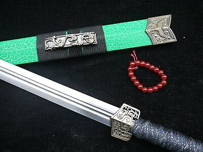 Gifts sword sale Han jian Medium carbon steel blade Green crackle paint scabbard