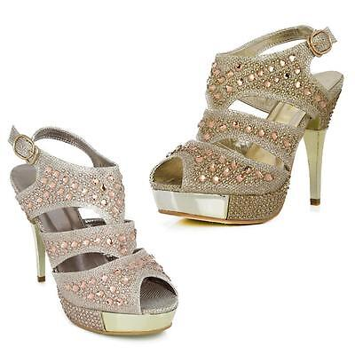 Womens Ladies Sparkly Crystal Diamante Gems  Wedding Party Bridal Prom Shoes