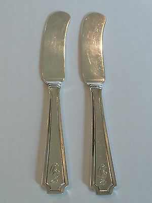 "Pair Durgin ""Fairfax"" Sterling Silver Butter Spreaders / Knives, Monog. ""E D"""