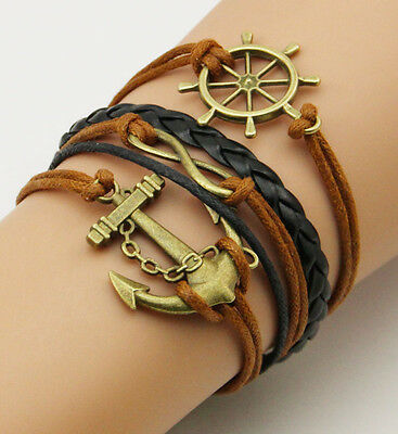 Free Shipping new fashion Anchor Rudder Leather Infinity Charm Bracelet A167
