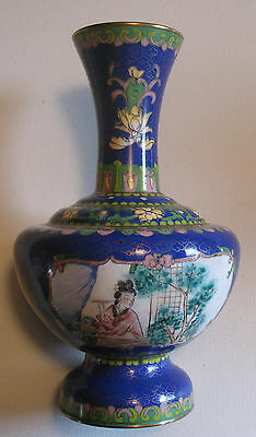 Chinese Cloisonne Vase Enamel Brass Painting Portrait Flowers Antique China Lge
