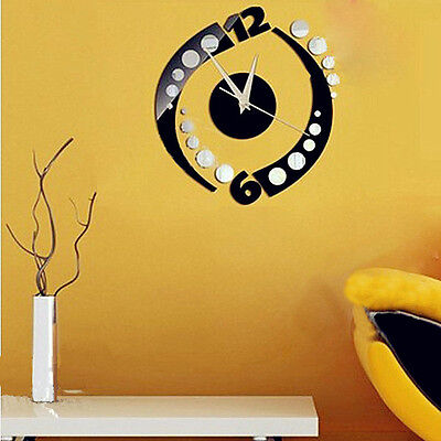 Rotation Sticker DIY Mirror Wall Clock Wall Sticker Home Decoration  Hottest
