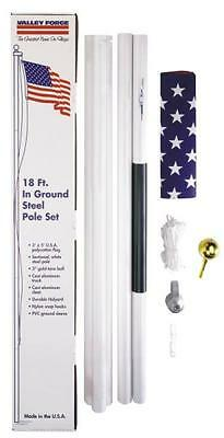 New Valley Forge Sfp18F-S 18 Foot Heavy Steel American Flag Pole Set 3631330