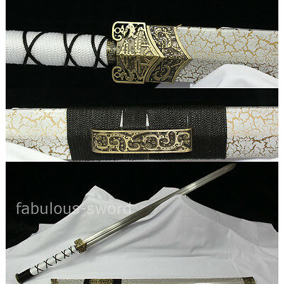 "42 ""WHITE SAYA CARBON STEEL BLADE SHARP CHINESE HAN 汉剑 SWORD"