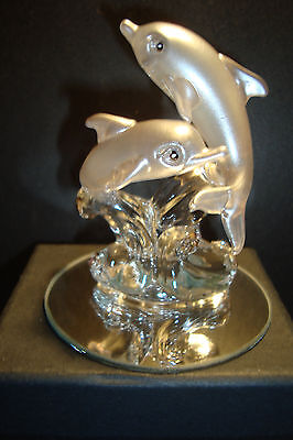Genuine Handmade  Spun Glass ~Dolphin~Figure~H~Ornament~Sealife~Boxed~uk seller