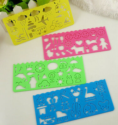 1 set of 4 pcs kids Multi Purpose Plastic Art cartoon Drawing Template Stencil