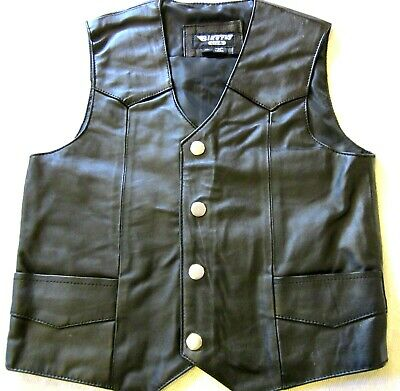 Kids Toddlers Black Soft Leather Biker Motorcycle Vest Extra Small