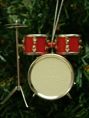 New Realistic Rock 'n Roll Red Drum Music Set Christmas Tree Ornament ODSR
