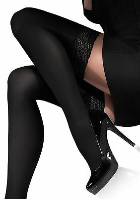 Exclusive Hold-ups by Marilyn 100 Denier 9cm Deep Lace Top New Size S -XL Chanel