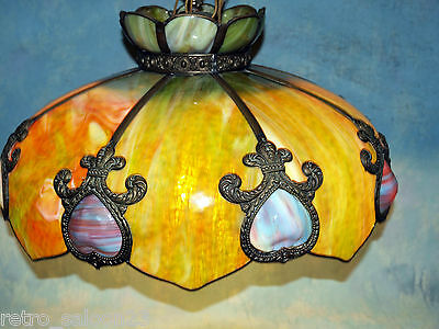 RARE HUGE Antique Slag Stained Glass Hanging Ceiling Lamp 3 Bulbs Tiffany Style