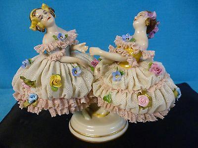 """DRESDEN LACE FIGURINE  5-1/2"""" TWINS  VOLKSTEDT ANTIQUE GERMANY - CLASSIC OLDIE"""