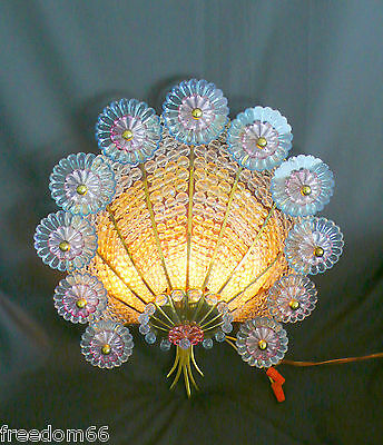 Scarce Art Deco Signed GERMANY Beaded Glass PEACOCK  Wall Sconce Lamp