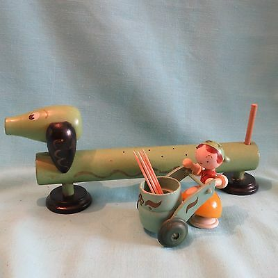 Vintage Toothpick Holders, Dachshund Hors D'oeuvre Server & Doll with Push Cart