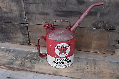 TEXACO Motor Oil Gas Petroleum Spout Cap w/ Chain Vintage Style Red Metal CAN