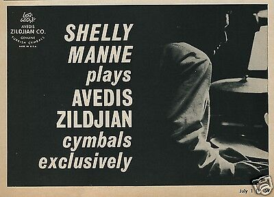 1965 Shelly Manne Plays Avedis Zildjian Cymbals Exclusively Moody Photo Trade Ad