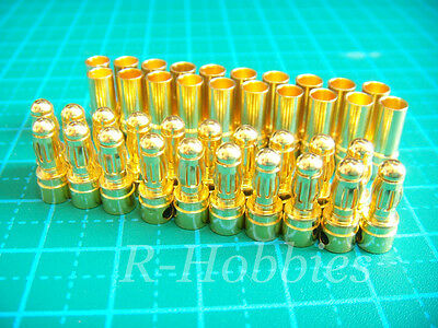 20pairs 3.5mm Gold Bullet Connector plug Align Trex 450 250 Male Female 3MM S