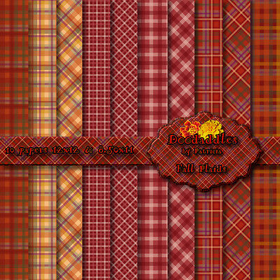 "0977) doodaddles 10 digital scrapbooking papers kit backgrounds ""FALL PLAIDS"""