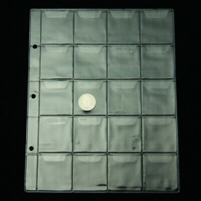 5 pcs Coin Pages 20 Pockets 4.5*4.5CM Album Holder Page