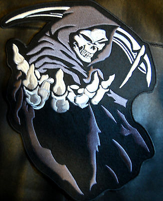 "HOODED GRAY GRIM REAPER SKULL LARGE 14""X12"" PATCH for BIKER LEATHER JACKET BACK"