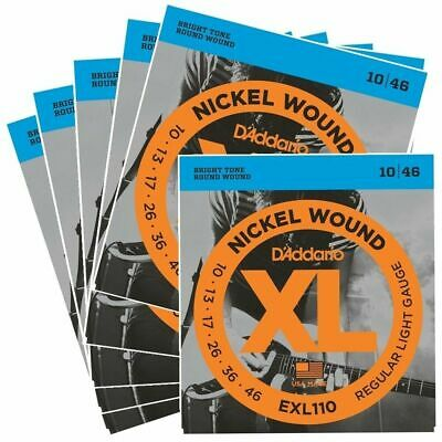 D'Addario EXL110 Nickel Wound Light Electric Guitar Strings 10 - 46 x 6 Packs