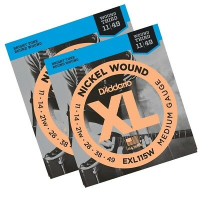 D'Addario EXL115W 2 Sets Blues/Jazz Wound 3rd Electric Guitar Strings  11 - 49