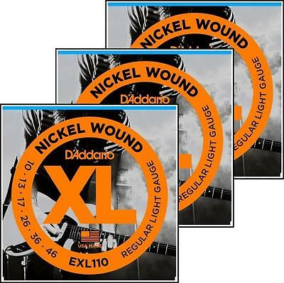 D'Addario EXL110 Nickel Wound Light Electric Guitar Strings 10 - 46 x 3 Packs