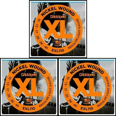 3 Sets D'Addario EXL110 Nickel Wound Light Gauge Electric Guitar Strings 10 - 46