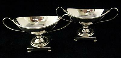 Pair Regency Urn shaped Silver Plated on Copper Open Salts on Pedestal Bases