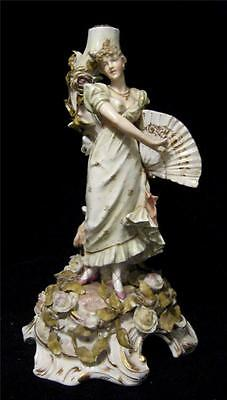 C19th Sitzendorf Porcelain Candlestick with a Figure of Lady - Damaged