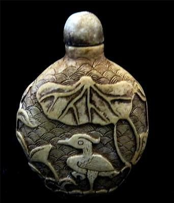 Snuff bottle, Creamy Hardstone Effect with Leaves and Stork.