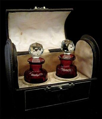 Super C19th Leather Domed Scent Case & 2 Cranberry fitted bottles poss Baccarat