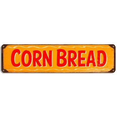 Corn Bread Metal Sign Barbecue Rustic Vintage BBQ Kitchen Menu Decor 20 x 5