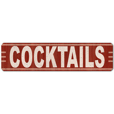 Cocktails Steel Sign Distressed Vintage Bar or Lounge Decor 20x5