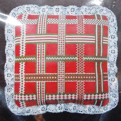 Christmas Ribbon Counted Cross Stitch Pillow Kit 12 x 12 #10861 Red Aida Lace