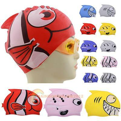Child Kids Fish Cartoon Silicone Swimming Cap Bathing Head Cover Swim Hat Sports
