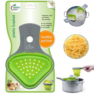 Colander Pasta Basket Silicone Strainer Healthy Diet Portion Noodle Boil Scoops