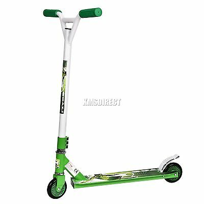 FoxHunter Kids Adult Pro Push 360 Degree Fixed Bar Stunt Scooter Trick Green New