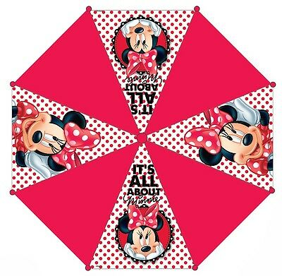 Disney Minnie Mouse Girls School Nursery Rain Umbrella Brolly Gift Official Red